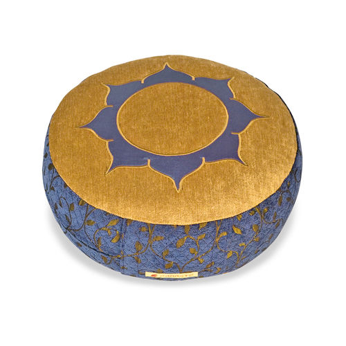 Round cushion DELUXE – 36x12cm – blue gold – Lotus