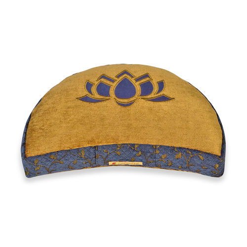 Crescent cushion DELUXE – blue gold – Lotus