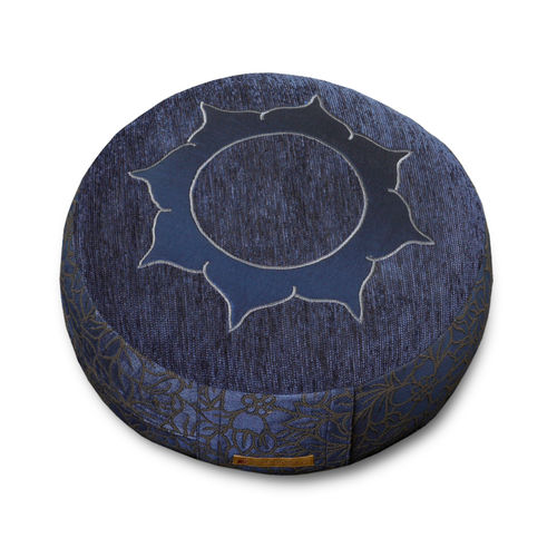 Round cushion SADHANA – 36x12cm – blue – Lotus